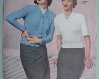 Vintage Knitting Pattern 1940s 1950s Women's Twin Set Cardigan Jumper Sweater 40s 50s original pattern - Emu No. 376 UK - classic style