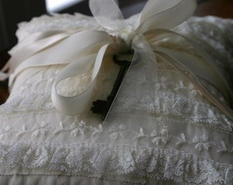 Reserved for Lindsay Something Old Something New Ring Bearer Pillow in Ivory