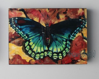 "Mounted Art Print ""Blue Beauty"" of original butterfly oil painting by Monique Hoch"