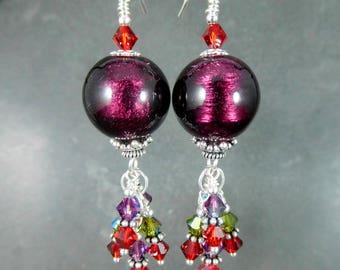 Amethyst Murano & Colorful Crystal Dangle Earrings, Purple Red Green Glass Earrings, Jewel Tones, Venetian Murano Earrings Murano Jewelry