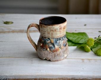 wabi sabi psychedelic mug with gold 16 onces handmade pottery