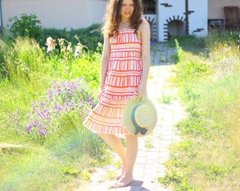 USSR Cotton Sundress | Strappy Frilly Smocked Soviet Vintage Summer Dress / Hippie, Festival: Red Printed Tiered Cotton & Lace -> Size SMALL