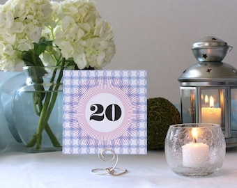Geometric Modern Pattern Table Number Square Wedding Party Marker