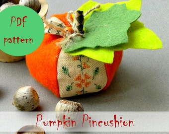 Halloween Pumpkin Pincushion Cross Stitch & Sewing PDF Pattern / Cross Stitch Pattern / Instant Download PDF Pattern / Halloween Home Decor
