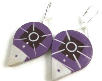 Dangle earrings teardrop polymer violet, gray and brown teardrops