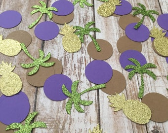 Pineapple and Palm Tree Confetti, Tropical Party Confetti, Luau Confetti, Table Decor Confetti, Luau Table Decor, Pineapple Table Decor