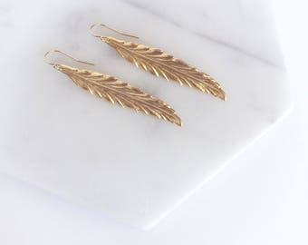 RILEY - Long Matte Gold Feather, Gold Plated Earwire, Dangle Earrings
