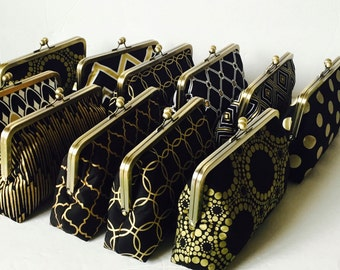Bridesmaid gift bag,  Clutch Black and Gold,  Wedding Party Gifts, Formal Clutch Purse,  Custom Personalized Gifts