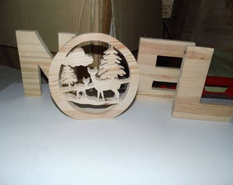 Cute Word Christmas Decoration lace on wood to finish of your home