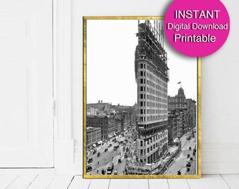 Printable Art, New York City Print, Flatiron Building, Black and White Reproduction 5x7 8x10 11x14 16x20 24x36 A3 A4