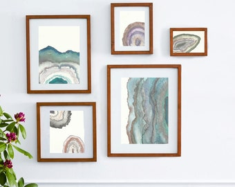 Modern Geodes Wall Collage,art bundle,wall collage,Watercolor geodes, raw crystals ,watercolor landscape,geode art,awakeyoursoul