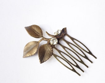 Leaf bridal hair comb crystal rhinestone antique style bronze jewel wedding hair accessory vintage bride gem branch nature goddess brass