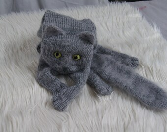 Russian Blue Cat Scarf Knitting Animal scarf-Cat Lover Gray Cat green Eyes