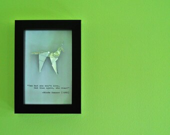 """Gaff's Blade Runner Origami Unicorn and Hand Typed Quote in a 4x6"""" (10x15cm) Box Frame"""