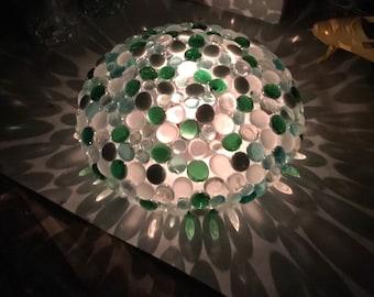 Beautiful and peaceful mosaic yard, garden and indoor art gazing ball tea light day and night
