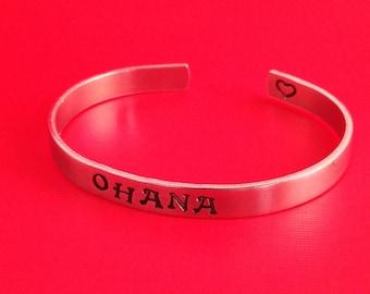 Ohana- Hand Stamped Cuff Bracelet- In Aluminum, Copper, Brass, or Sterling Silver