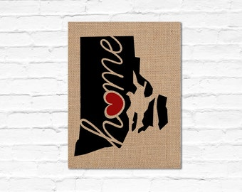 """Rhode Island (RI) """"Love"""" or """"Home"""" Burlap or Canvas Paper State Silhouette Wall Art Print / Home Decor (Free Shipping)"""
