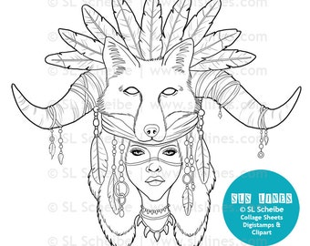 Fantasy Shaman Digital Stamp Pretty Fox Girl Medicine Woman Digistamp Coloring Page By SLS Lines
