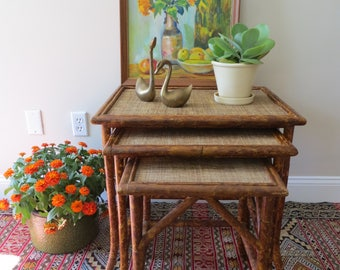 Vintage Rattan Nesting Tables - Bamboo Nesting Tables - Set of Three - Bungalow Boho Decor