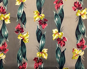Enchanting Climbing Leaf Design 40s Barkcloth Fabric// Hollywood Glam with a Miami Beach Vibe// Cotton Yardage//Upholstery// New Old Stock