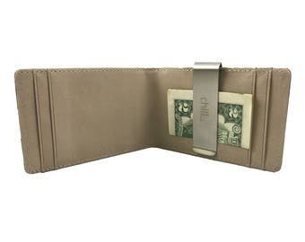 Fold-Clip Brown/Cream Leather Bi-Fold Money Clip