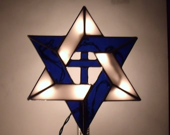 Interfaith Tree Topper with Light Clips, Stained Glass Jewish Star of David With Cross, Christmas Decoration for Messianic Holidays