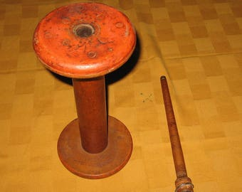 Vintage wooden thread spool and wooden textile bobbin
