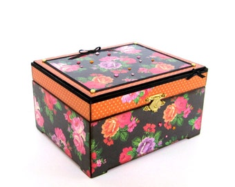 Floral Jewelry Box Decoupaged Trinket Box Decorated Keepsake Box Orange Pink Roses on Charcoal Black Gift for Her Mothers Day Gift for Mom