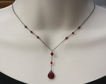 Delicate Garnet Necklace, Mothers Day, Birthday gift for Wife, for Sister, for Girlfriend, for Daughter, for Niece, Retro, Vintage Style