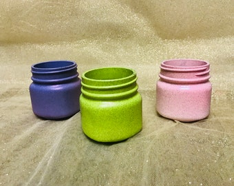 Colored mason jar trio