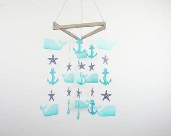 Baby Mobile, Nautical Nursery, Whale, Whale Nursery Decor, Anchor Baby Decor, Starfish, Whale, Anchor