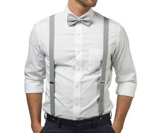 Light Gray Bow Tie &  Light Gray Suspenders for Baby Toddler Boy Men