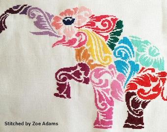 Tribal elephant multicolour - modern counted cross stitch kit