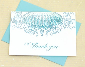Jellyfish Thank You Notes - Set of 8 with Envelopes