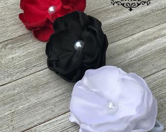 Red Black White Hair Tie Ponytail Set - Flower Hair Tie - Flower Ponytail - Elastic Hair Tie - Ponytail Holder Set