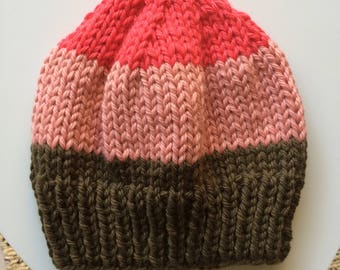 Bulky Hat khaki pink pomegranate