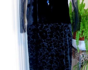 ON SALE/ Flocked Velvet Evening Gown