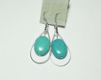 Turquoise Silver Earrings in Silver Teardrop Beading Hoops
