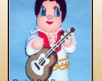 Rock & Roll Singer Crochet Pattern, 50s rock and roll, crochet Elvis, crochet doll