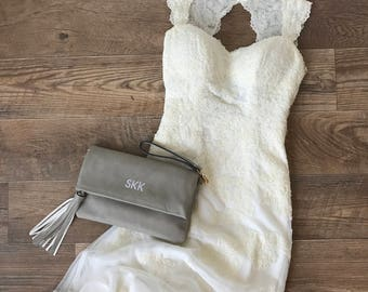 Monogrammed Clutch | Bridal Pack | Bridesmaid Gift | Fold Over Clutch | Fold Over Purse | Monogram Fold Over | Vegan Leather | Charlotte