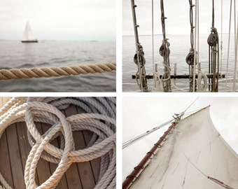 Nautical neutrals print set - One Free! - Sailing art - Photography art prints - Wall decor - Matching art gift - New England - Large art
