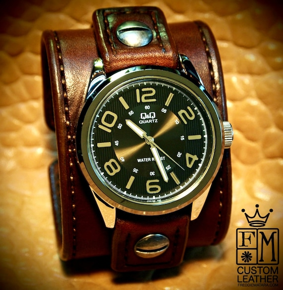 Leather Watch Vintage cuff Chocolate brown bridle leather watchband - handstitched leather watch band Made for YOU in USA by Freddie Matara