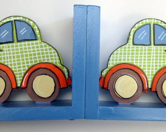 Personalized,hand painted car bookends,lime green,orange,brown,kids bookends,boys book ends,children's bookends,car theme decor,for boys
