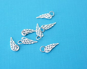 Silver Angel Wing Charm, Small Angel Wing, Tiny Wing Charm, Bird Wing, Silver Charm, Tiny Sterling Silver Angel or Bird Wing Pendant, SS404