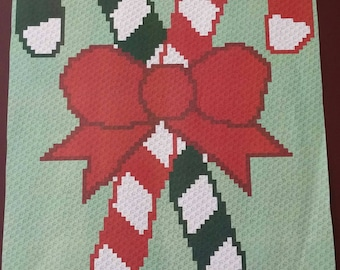 Candy Canes – Teen/Adult Size C2C Crochet Blanket Afghan Graph Pattern – 75x90 C2C crochet squares