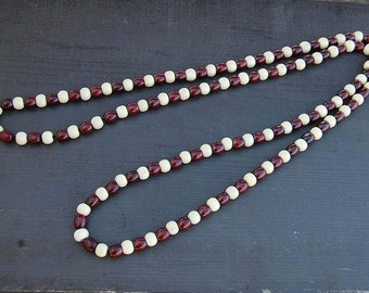 44 Inches Extra Long Beaded Necklace,2 Colours Wood Beads,Stretch,Wood Mala Necklace,PrayerMan,Woman,Yoga,Protection,Meditation,Spirituality