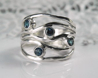 Blue Topaz Ring - Teal Blue Wave Gemstone Ring - London Blue Topaz Jewelry - Unique Artisan Gemstone Jewelry - Sterling Silver Ripple Ring