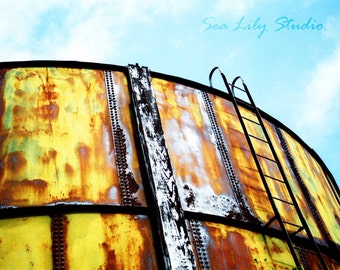 Water Tower : rust abandoned water tower distressed metal ladder cross process blue yellow gold home decor 8x10 11x14 16x20 20x24 24x30