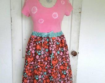 Upcycled Dress-Medium-Tye Dye-Repurposed-Eco-Tshirt-Floral-Clothing
