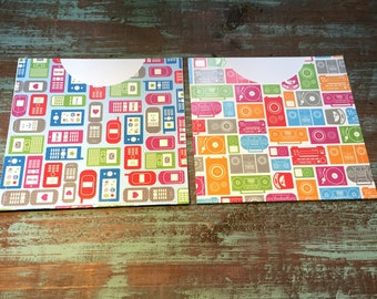 CD Paper Sleeves Set • Text & Boomboxes • Handmade Pair of Disk Covers • Envelopes • Gift Wrap • Pockets • Printed Paper • DVD